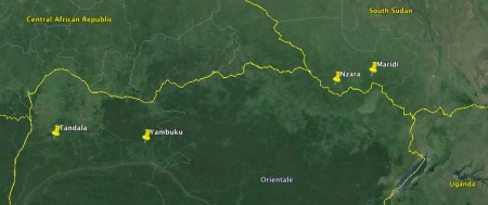Google map of the area where the first Ebola haemorrhagic fever outbreaks occurred